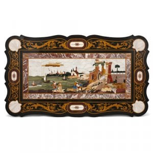Italian pietra dura tabletop with harbour landscape