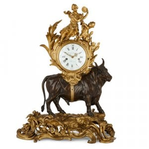 'The Abduction of Europa', gilt and patinated bronze clock