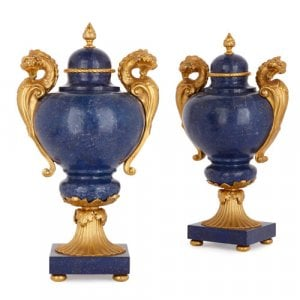 Pair of Louis XVI style ormolu mounted lapis lazuli vases