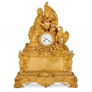 French ormolu mantel clock by Leroy to commemorate Napoleon