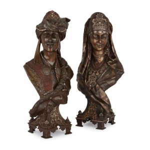 Pair of large French Orientalist antique busts