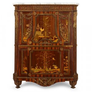 Ormolu mounted marquetry French antique secrétaire