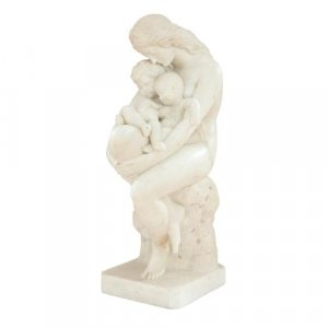 'The First Cradle', antique Italian marble sculpture by Franchi