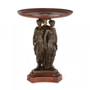Empire style marble and bronze antique centrepiece by Robbe