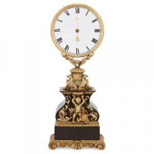 Antique ormolu and glass mystery clock by Robert-Houdin