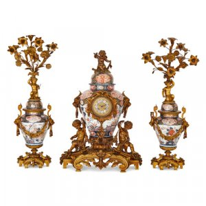 Ormolu mounted Japanese Imari porcelain clock set