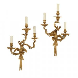 Pair of antique French Louis XV style ormolu wall lights