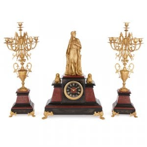 Egyptian Revival style ormolu and marble clock set