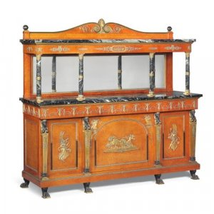 Very large Empire style sideboard buffet cabinet by Krieger