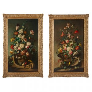 Pair of large Dutch floral still life paintings