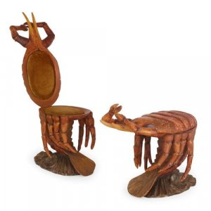 Pair of crab-form Grotto chairs attributed to Pauly et Cie