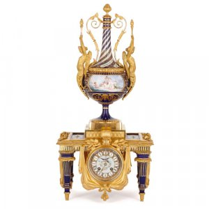 Sèvres style porcelain and ormolu mantel clock by Barbedienne
