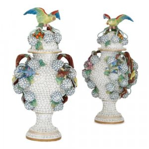 Pair of antique Meissen style porcelain Schneeballen vases