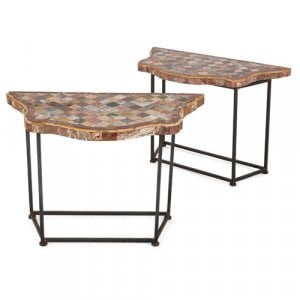 Pair of iron console tables with specimen marble tops