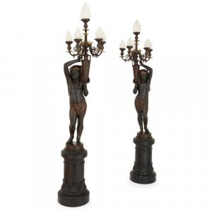 Pair of Egyptian Revival cast iron figural candelabra by Durenne