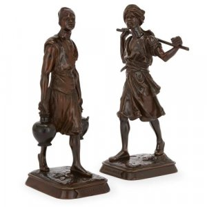 Pair of antique patinated bronze Orientalist style figures