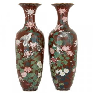 Pair of antique Japanese red cloisonne enamel vases