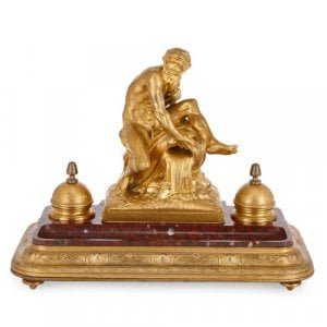 French antique ormolu mounted marble inkstand by Barbedienne