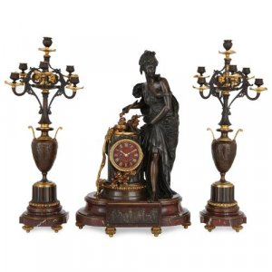 French marble, gilt and patinated bronze three piece clock set