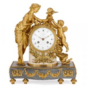 French Neoclassical style ormolu and marble mantel clock
