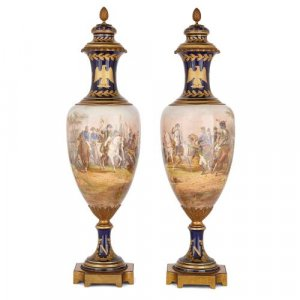 Pair of Napoleonic ormolu and Sevres style porcelain vases