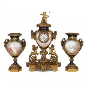 Antique French Sevres style porcelain and ormolu clock set