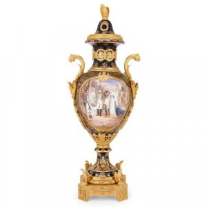Empire style ormolu mounted vase in Sevres style porcelain