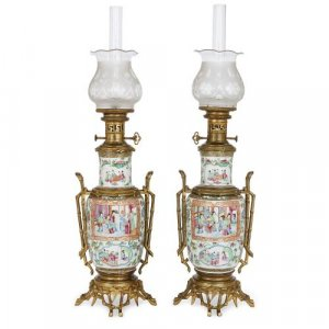 Chinese Canton famille rose porcelain lamps with ormolu mounts