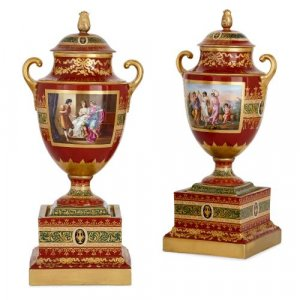 Pair of antique Royal Vienna parcel-gilt porcelain vases
