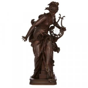 'Melodie', antique patinated bronze group by Carrier-Belleuse
