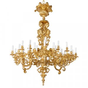 Large Louis XIV style ormolu eighteen-light chandelier