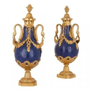 Pair of Louis XVI style ormolu and lapis lazuli vases