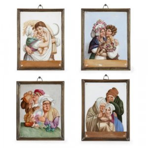 Set of four German Meissen porcelain plaques of The Four Seasons