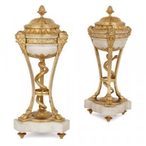 Pair of French antique ormolu mounted marble cassolettes