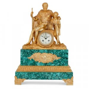 French Neoclassical style ormolu and malachite mantel clock