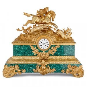 Large antique French ormolu and malachite mantel clock