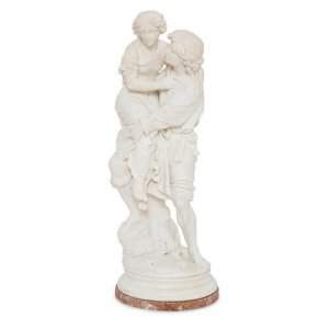 Large antique Italian marble sculpture of two lovers