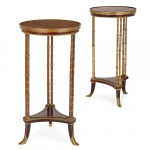 Pair of Louis XVI style ormolu, mahogany and marble gueridons