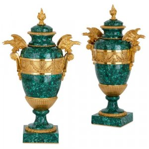 Pair of French ormolu mounted malachite vases with eagles