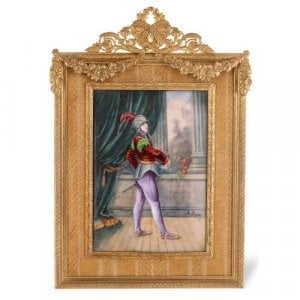 French Limoges enamel plaque of a knight in ormolu frame