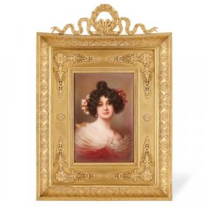 Antique porcelain plaque of a female portrait in ormolu frame