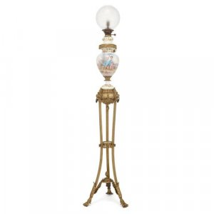 French ormolu and Sevres style porcelain floor lamp