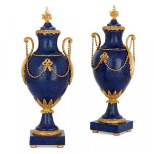 Pair of French Louis XVI style ormolu mounted lapis lazuli vases