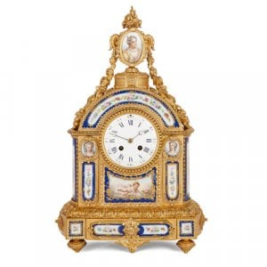 Antique Sèvres style ormolu mantel clock with porcelain plaques
