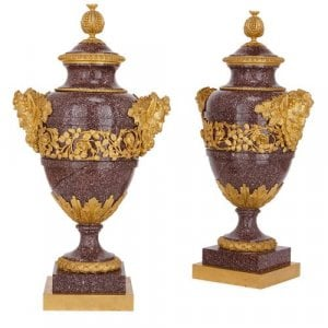 Pair of ormolu mounted porphyry vases by Maison Millet