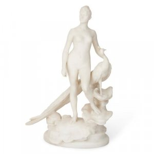 'La Femme au Paon', carved white marble group by Falguiere