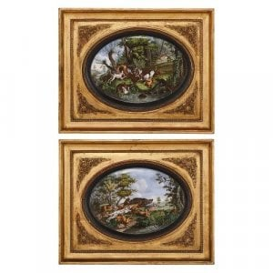 Pair of Paris porcelain plaques with hunting scenes