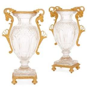 Pair of French antique ormolu mounted cut glass vases