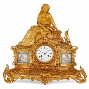 Antique Sevres style porcelain and ormolu mantel clock