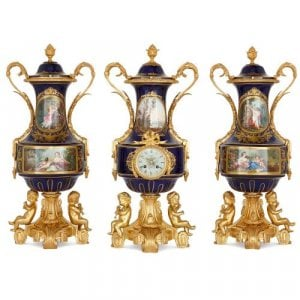 19th Century French ormolu and Sevres style porcelain clock set